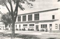 Gymnasium, west facade, facing northeast, circa 1955.