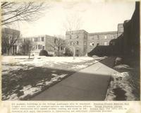 Academic buildings in the Quad, facing northwest, circa 1975.
