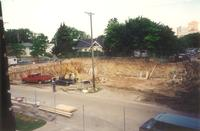 Lindell Library, construction site, facing northwest, 1996.