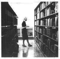 Sverdrup Library, book stacks, circa 1960.