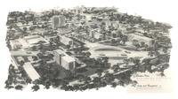 Campus plan of Augsburg College, facing southwest.