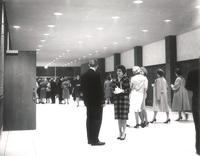 Si Melby Hall, main lobby/gym entrance, facing northeast, circa 1962.
