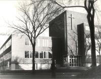 Science Hall, northwest corner, facing southeast, circa 1955.