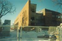 Lindell Library, construction, facing west, 1997.