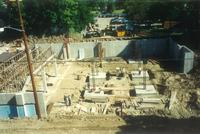 Lindell Library, construction of basement, facing south, 1996.