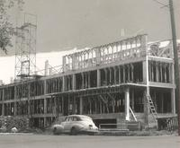 Sverdrup Hall, construction of third floor, facing southeast, 1954-1955.