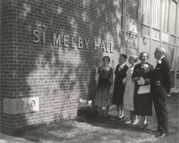 Si Melby Hall, west facade, facing southeast, circa 1961.