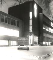 Science Hall at night, west facade, facing southeast, circa 1965.
