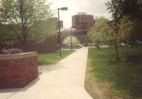 Campus view from northwest corner of Foss Lobeck Miles Center, facing southwest, circa 1995.