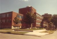 Science Hall and Sverdrup Hall, facing southeast, circa 1975.