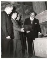 Sverdrup Hall, cornerstone ceremony, 1954.