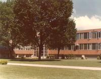 Science Hall and Sverdrup Hall, facing northwest, circa 1980.