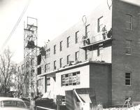 Gerda Mortensen Hall, construction, northeast corner, facing southwest, 1955-1956.
