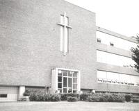 Science Hall, southeast corner, facing northwest, circa 1950.