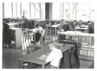 Sverdrup Library, reading room, facing north, circa 1955.