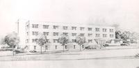 Gerda Mortensen Hall, architect's rendering, east facade, facing west.