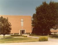 Science Hall, east facade, facing west, circa 1975.
