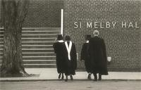 Si Melby Hall during commencement, steps on west side, facing east, circa 1965.
