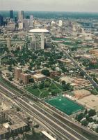 Augsburg College campus, aerial view facing northwest, 1992.