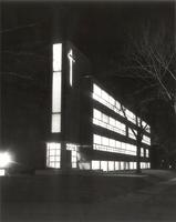 Science Hall at night, northwest corner, facing southeast, circa 1955.