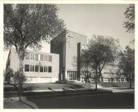 Sverdrup Hall and Science Hall, west facades, facing southeast, circa 1955.