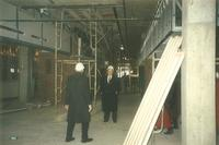 Lindell Library, construction of first floor, facing west, 1997.