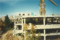 Lindell Library, construction of second and third floors, facing north, 1996.