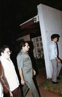 Daniel Ortega visits the Center for Global Education and Experience (CGEE) office in Managua, Nicaragua, 1984. The CGEE office is on the same street as Daniel Ortega's house, and the offices of the Sandinista Front party (now also the presidential offices