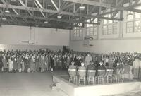 Gymnasium, dedication ceremony, facing northeast, 1947.