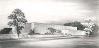 Si Melby Hall, architect's rendering, facing southeast, circa 1960.