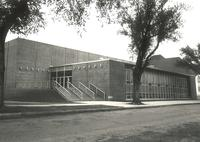 Si Melby Hall, west facade, facing southeast, circa 1970.