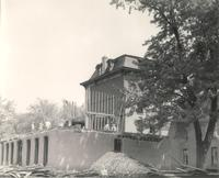 Old Main (1872-1948), demolition, south facade of west wing, facing northeast, 1948