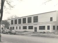 Gymnasium, west facade, facing northeast, circa 1950.