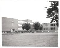 Science Hall, east facade and Sverdrup Hall south facade, facing northwest, circa 1965.