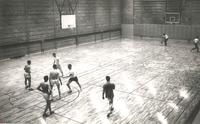 Si Melby Hall, basketball court, circa 1955.