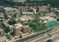 Augsburg College campus, aerial view facing northeast, 1992.