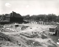 Si Melby Hall, construction, facing southwest, 1960.