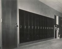 Science Hall, hallway lockers, 1949.