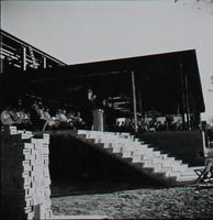 Si Melby Hall, cornerstone ceremony, facing south, 1960.