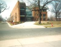 Lindell Library, east facade, facing west, circa 1997.