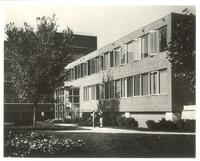 Sverdrup Hall, south facade, facing northwest from the quad, circa 1960.