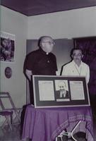 Ken Mahler, Lutheran Bishop for Panama with an unidentified priest at the inaguration of the Augsburg center in Managua, Nicaragua, 1984