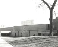 Ice Arena, north facade, facing southeast, circa 1975.