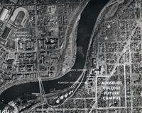 Aerial photograph of the future home for Augsburg College, circa 1955