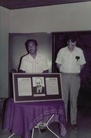 Joel Mugge with unidentified man at the inaguration of the Augsburg center in Managua, Nicaragua, 1984