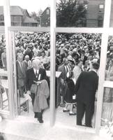 Sverdrup Library, dedication ceremony, south entrance, facing south, 1955.