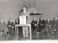 Gymnasium, dedication ceremony, facing south, 1947.