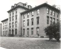 Old Main (1872-1948), north facade and northwest corner, facing southeast, circa 1945.