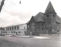 Music Building, west facade and Gymnasium, southwest corner, facing northeast, circa 1945.