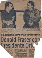 """The President of the Republic, Commandante of the Revolution Daniel Ortega, talks with Donald Fraser, Mayor of the city of Minneapolis, who is leading a delegation of the International Lawyers Committee for Human Rights who are in the country."""